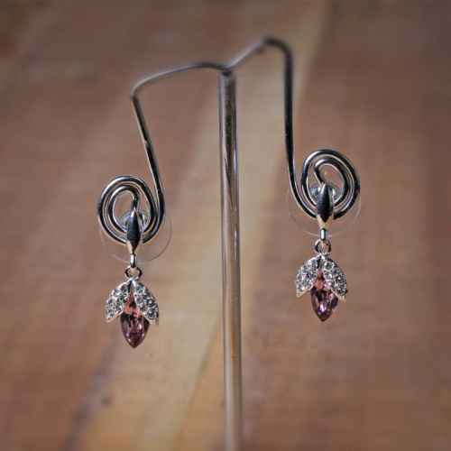Pink Swarovski Crystal Drop Earrings