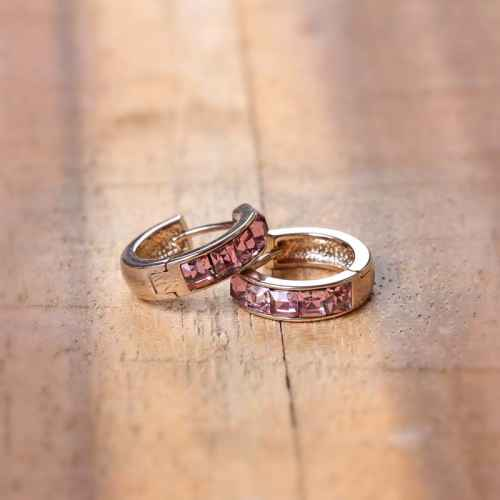 Pink Five Stone Hoop Earrings made with Elements from Swarovoski