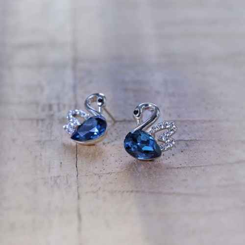 Blue Swan Swarovski Crystals Stud Earrings
