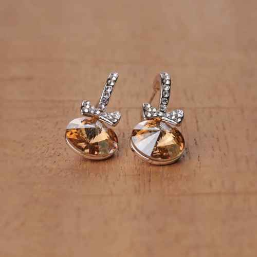 Amber Crystal Earrings Made with Elements from Swarovski