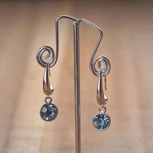 Blue Crystal Dangling Earrings made with elements from Swarovski
