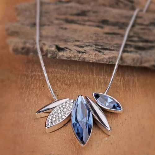Blue and Silver Shard Necklace Made with Elements from Swarovski