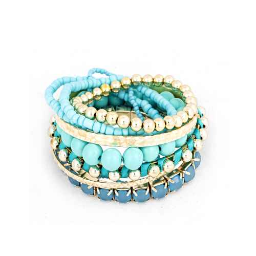 Bohemian style multi-layer Greek Blue elastic bracelets