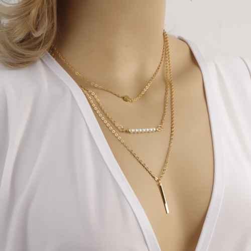 Gold Sticks Layered Necklace