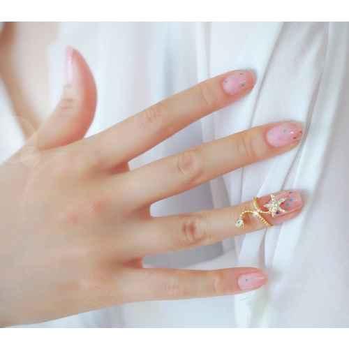 Punk Nail Ring with a Crystal Star