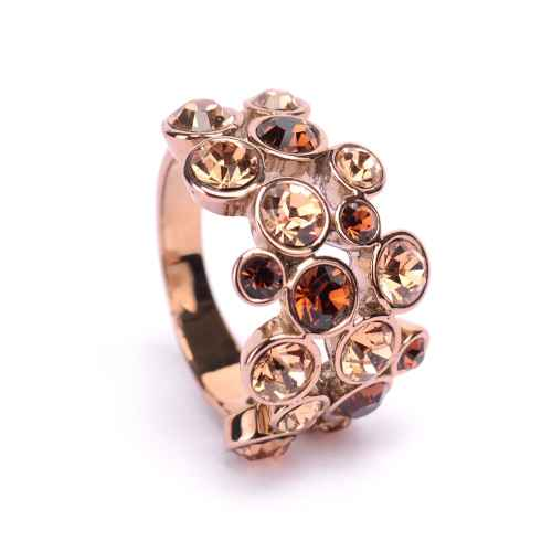 Brown stone Ring Made with Elements from Swarovski.
