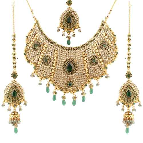 Graceful Antique Gold Plated Kundan Bridal Set