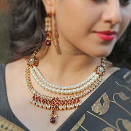 Gold Plated Kundan and Faux Pearl Set