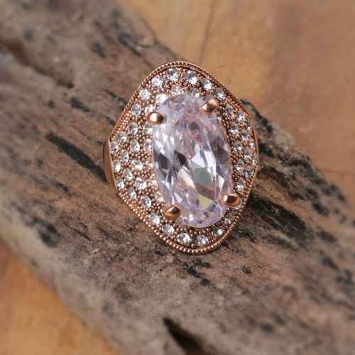 Big Bling Rose Gold Crystal Ring