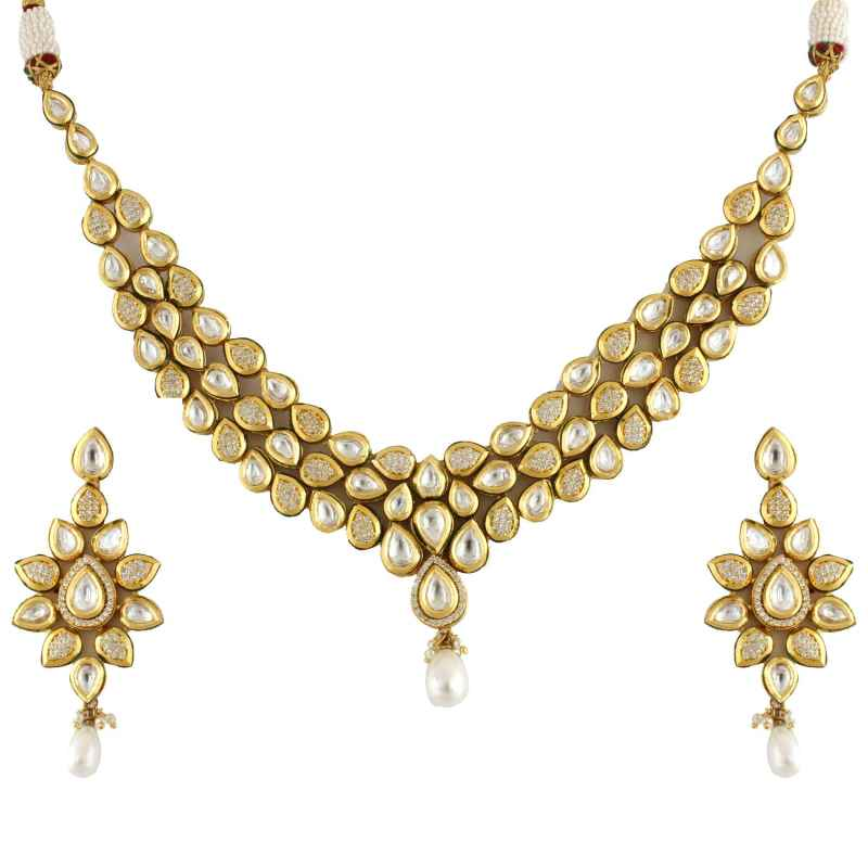 jewellery floral necklace img diamond plated gold indian set design multi strand stones stylish ad elegant