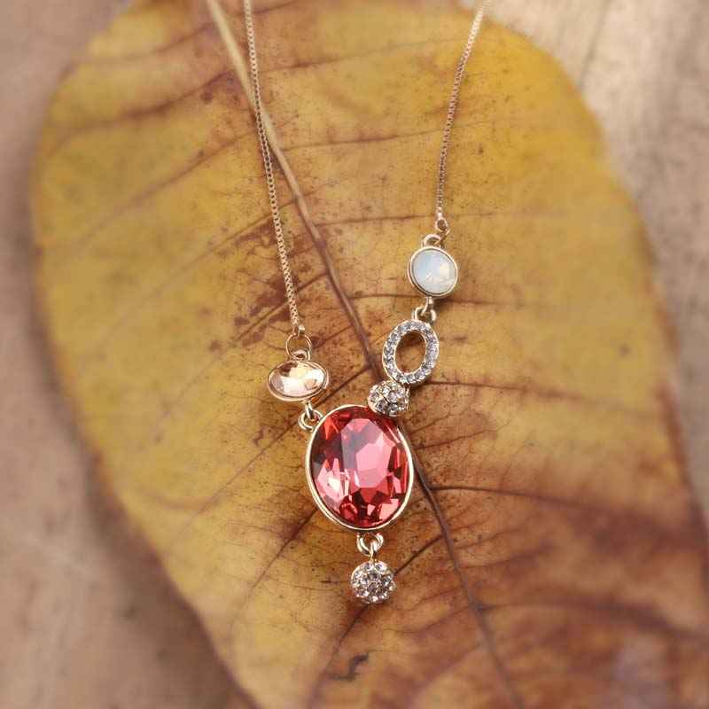 Red Reflection Pendant Necklace Made with Elements of Swarovski