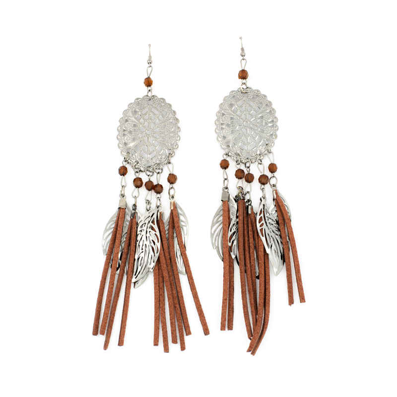 Brown & Silver Leather Rope Earrings