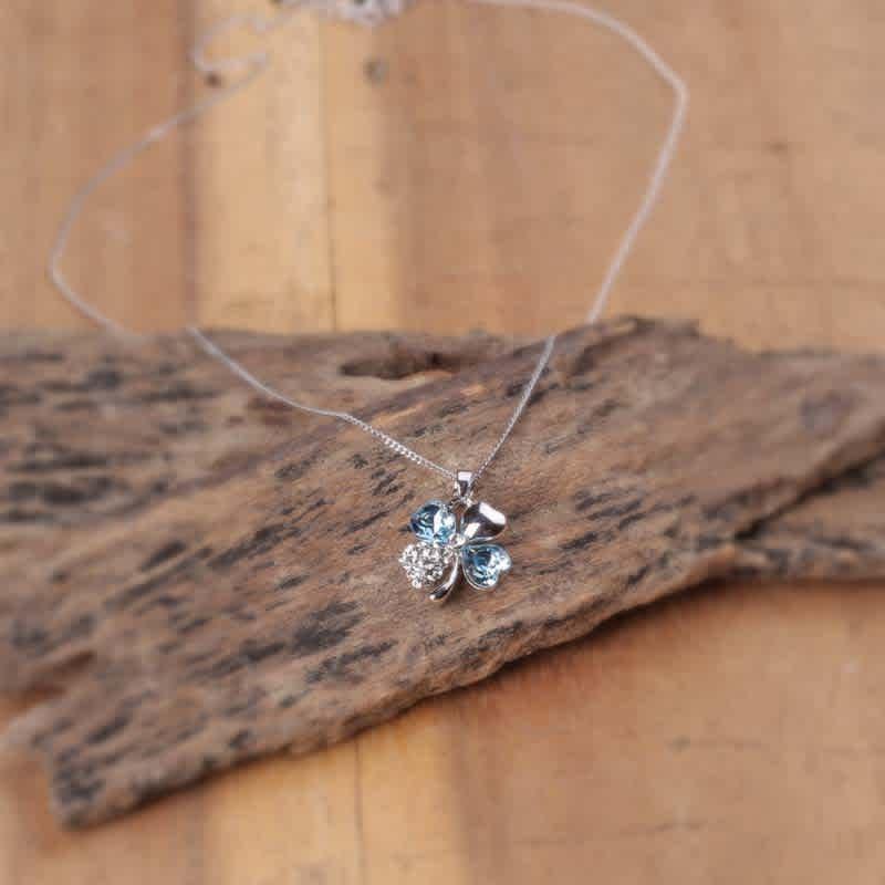 Silver Petal Swarovski Crystal Pendant