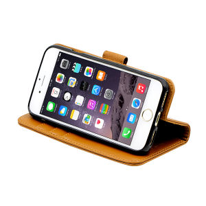 For iPhone 7  wallet case real leather case brown