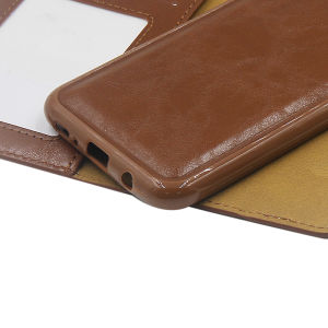 For Samsung Galaxy SM-G955F S8 Plus PU Leather Magnetic detachable Case Brown