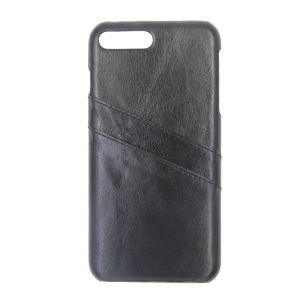 For iPhone 7 Plus Genuine Leather Card Pocket Case Black