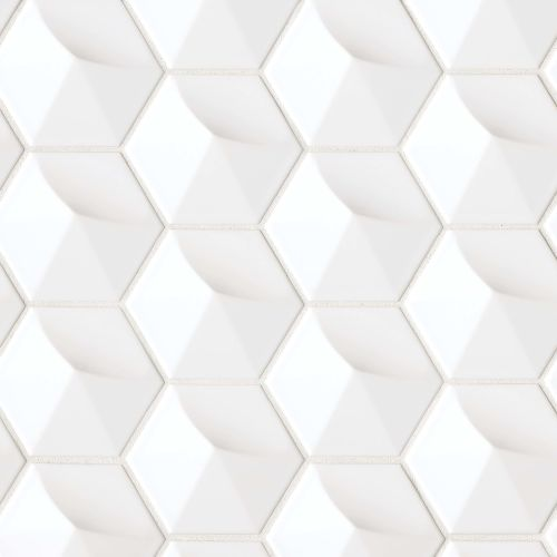 "Hedron 4"" x 5"" Wall Tile in White"