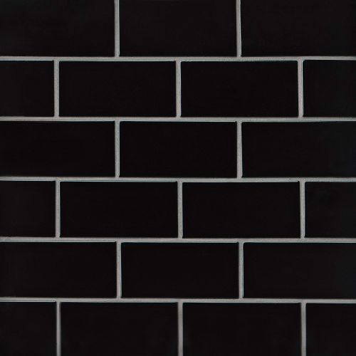"Provincetown 3"" x 6"" Floor & Wall Tile in Fleet Black"