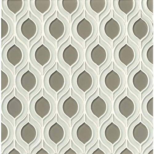 Mallorca Glass Wall Mosaic in White Linen / Roca