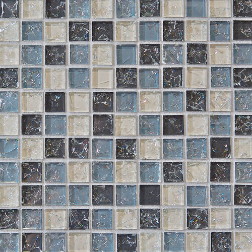 "Ice Crackle Glass Mosaic 1"" x 1"" Wall Mosaic in Gray"