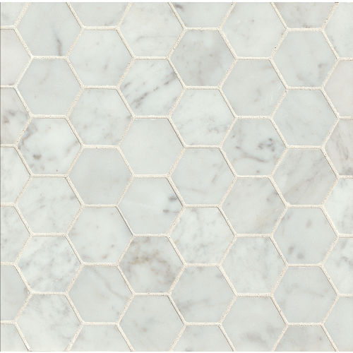 "White Carrara 2"" x 2"" Floor & Wall Mosaic"