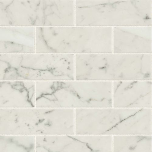 "Classic 2.0 2"" x 6"" Floor & Wall Mosaic in Bianco Carrara"