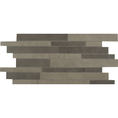 Metro Plus Floor and Wall Mosaic in Stealth Jet / Manhattan Mist