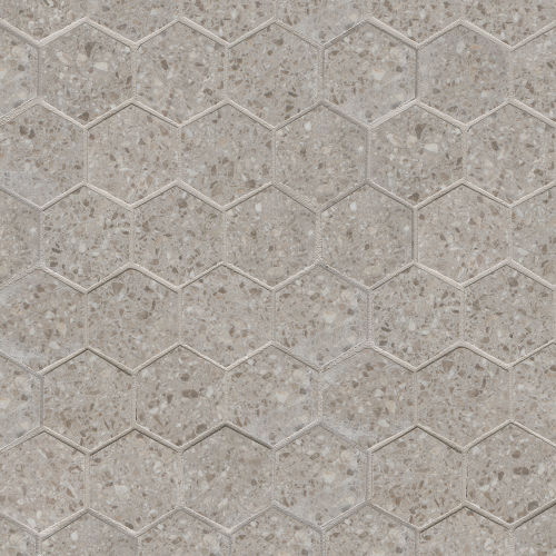 "Terrazzo 2"" x 2"" Floor & Wall Mosaic in Light Gray"