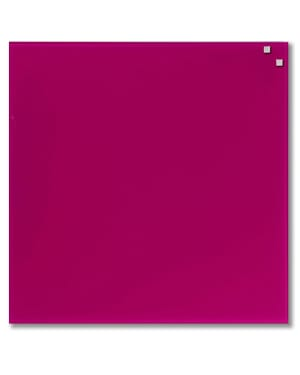 NAGA Magnetic Glass Noticeboard PINK 45 x 45cm