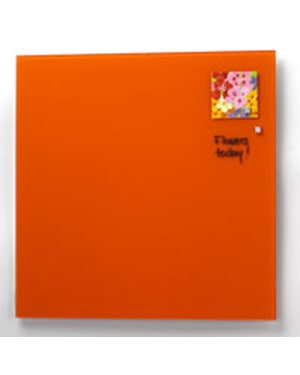 NAGA Magnetic Glass Noticeboard ORANGE 100 x 100cm