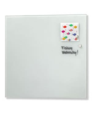 NAGA Magnetic Glass Noticeboard WHITE 35 x 35cm