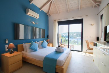 Blue bedroom with view on Sivota's bay