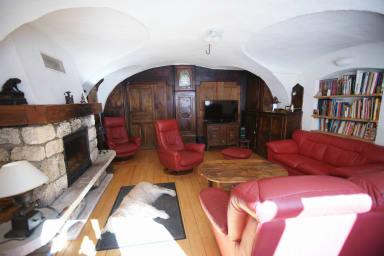 salon voutée avec cheminée ,bibliothèque,TV et home cinéma