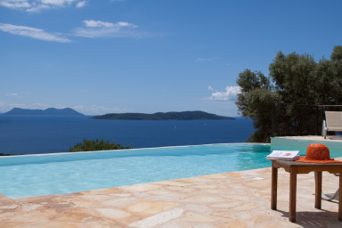 Holiday moments of tranquility beside the pool with stunning view