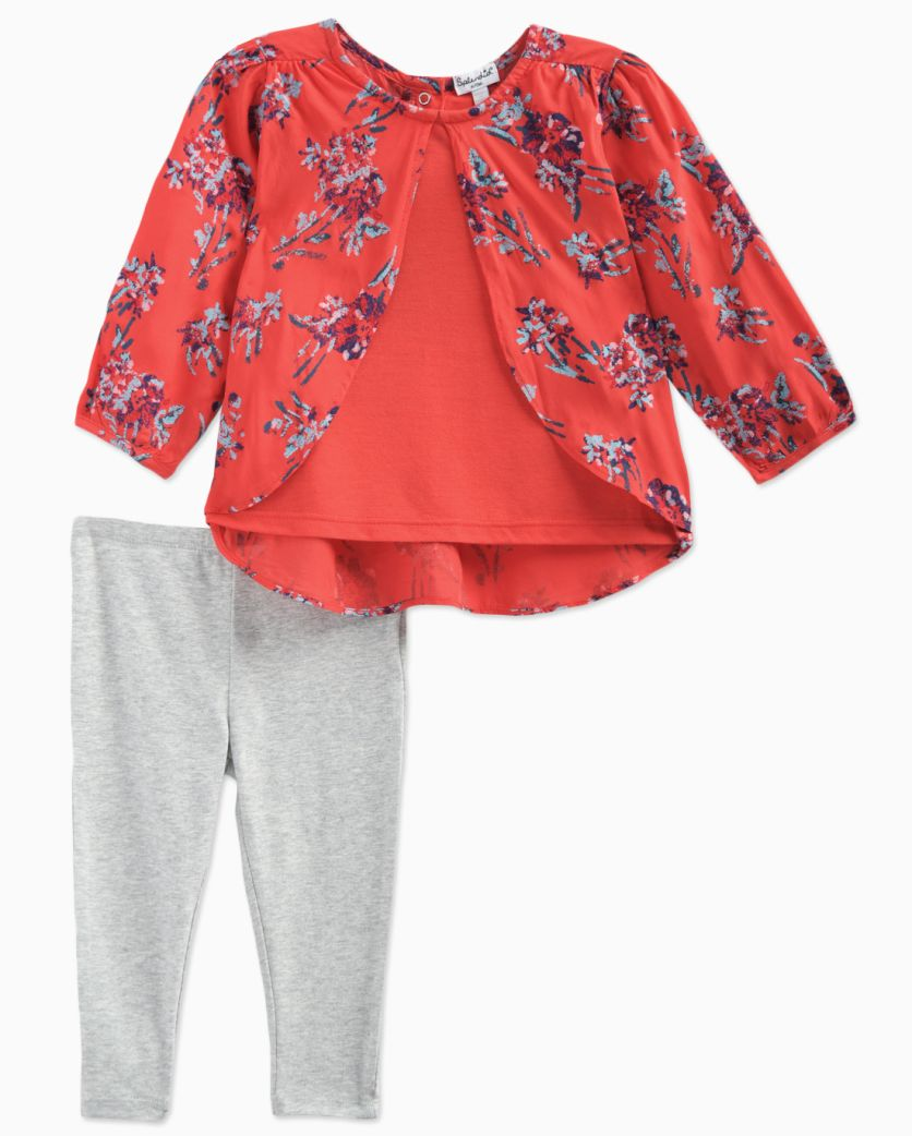 Baby Girl Jersey and Print Long Sleeve Set