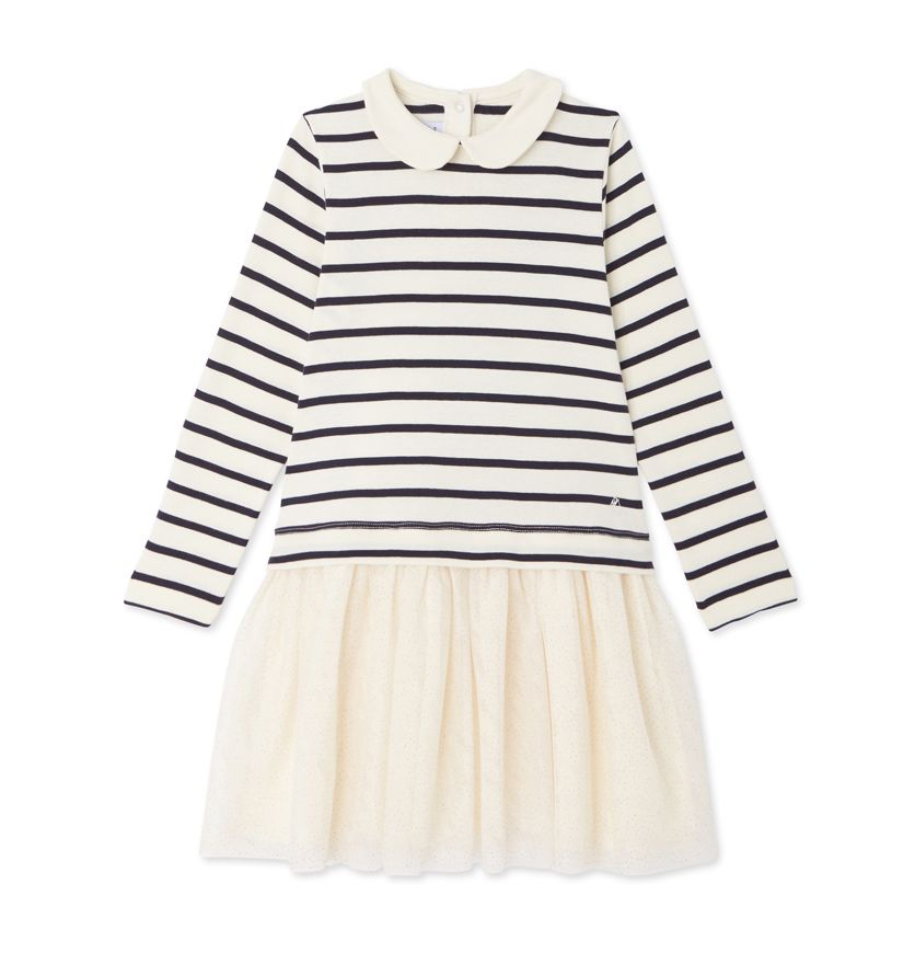 Girls' long-sleeved, mixed-fabric dress