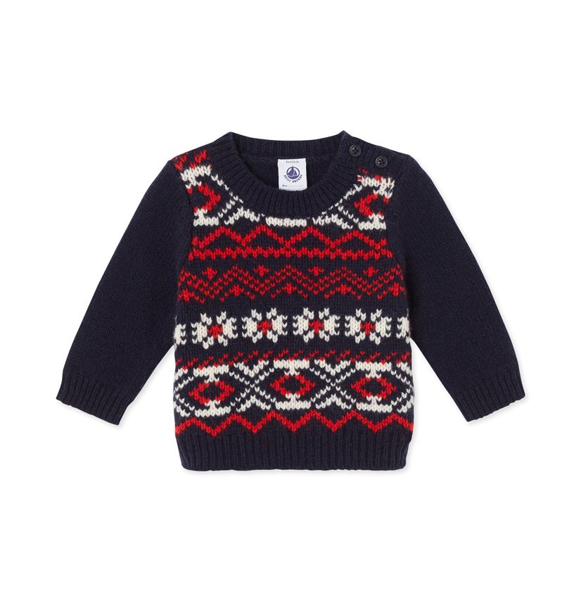 Baby boy's wool and nylon jacquard sweater