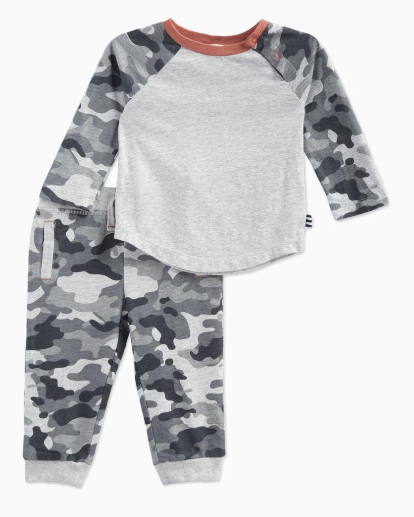 Baby Boy Raglan Crew with Camo Pant Set