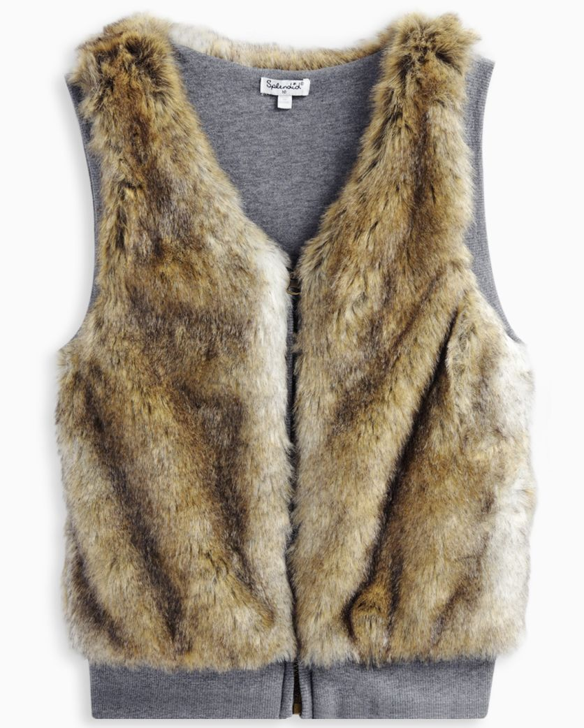 Girl Reversible Faux Fur Vest