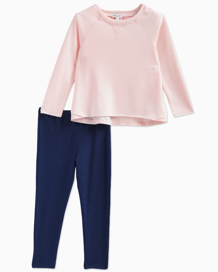 Little Girl Burnout French Terry Top with Pant Set