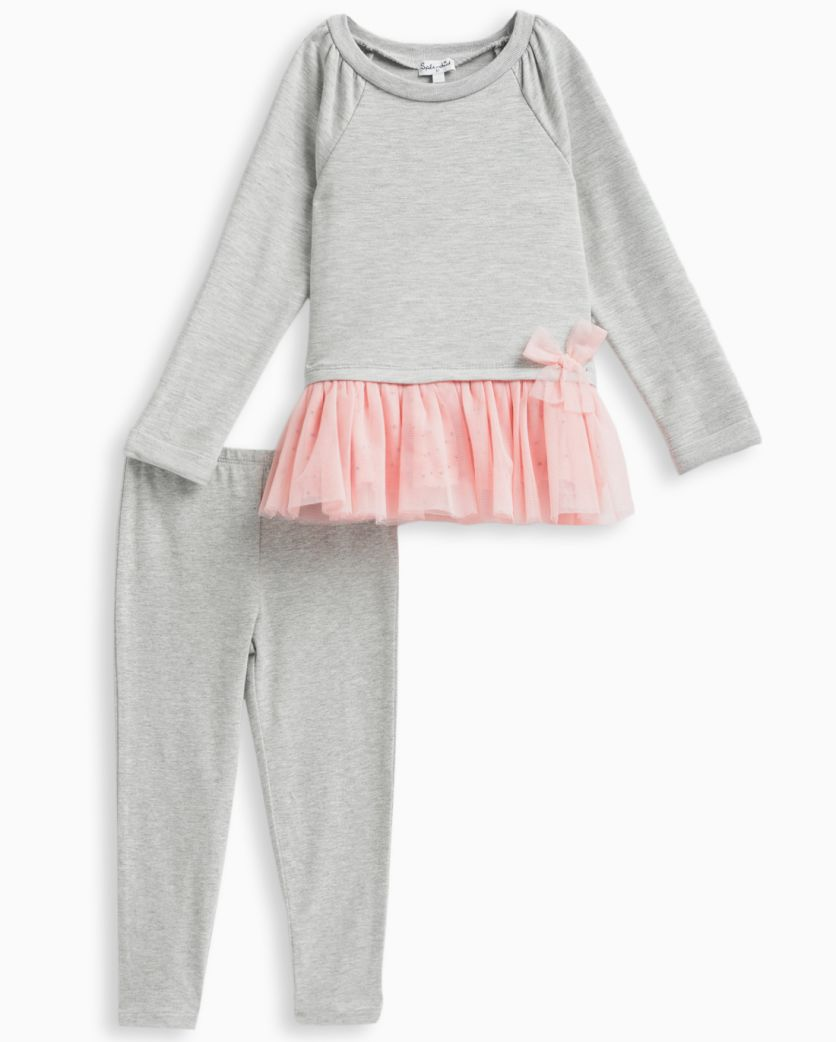 Little Girl French Terry Tunic with Tulle Pant Set