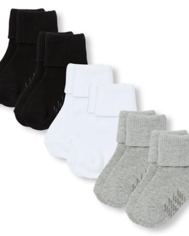 Unisex Toddler Triple Roll Socks 6-Pack