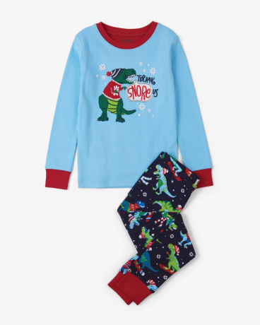 Winter Sports T-Rex Appliqué Organic Cotton Pajama Set