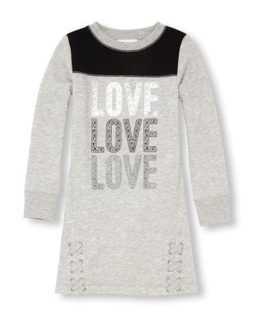 Girls Long Sleeve 'Love' Knit Football Dress