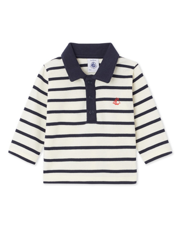 Baby boy's long-sleeved striped polo shirt