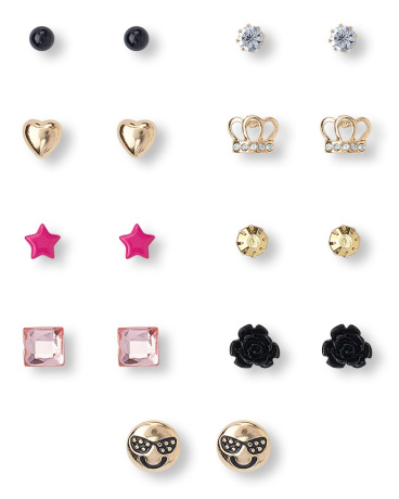 Girls Glam Rock Emoji Earrings 9-Pack