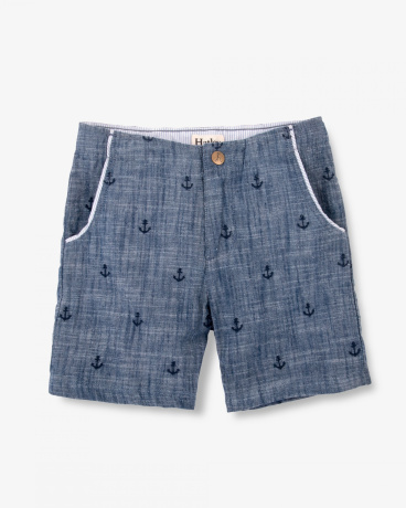 Patterned Anchor Chambray Shorts