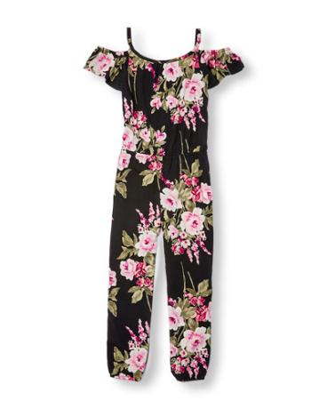 Girls Short Sleeve Floral Print Cold-Shoulder Woven Jumpsuit