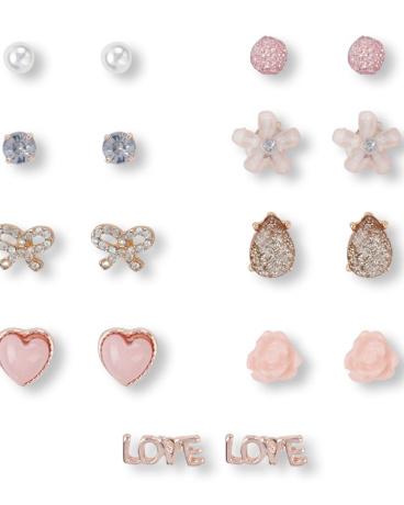 Girls Pink Earrings 9-Pack