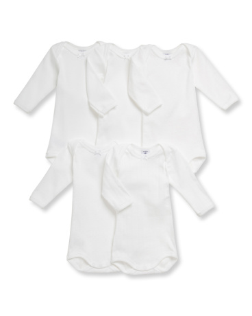 Pack of 5 baby girl white cotton long-sleeved bodysuits